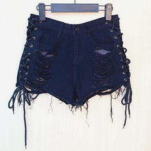 Load image into Gallery viewer, mermaid-vemon,Trouble Maker Black Denim Shorts.
