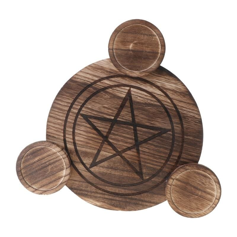 mermaid-vemon,Wooden Candle Altar Divination Plate.