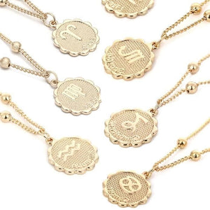 mermaid-vemon,Zodiac Coin Necklace.