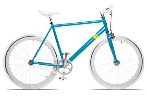 Blue and White Single Speed Bike