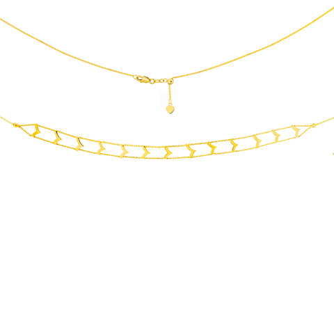 Chevron Design Choker Adjustable Necklace - 14KT Yellow Gold - TDSNEW