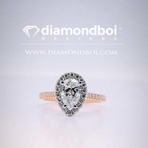 .85ct /1.05ct / 1.40ct Total Weight Pear Shape, Halo Design -TDSHalo