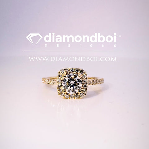 .85ct /1.05ct / 1.40ct Total Weight Round Cut , Cushion Shaped Halo Design -TDSHalo