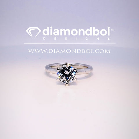 1.00ct/1.50ct/2.00ct Round Cut Ice Moissanite by diamondboi, 6-Prong -1.75MM Tube Solitaire-TDSMoiss