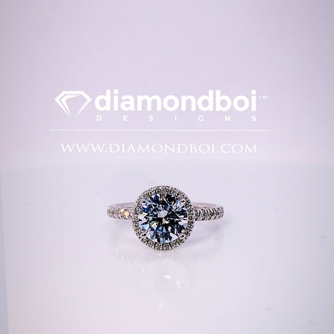 1.05ct/1.40ct/1.85ctTW Round Cut Ice Moissanite by diamondboi- Halo Design -TDSMoiss