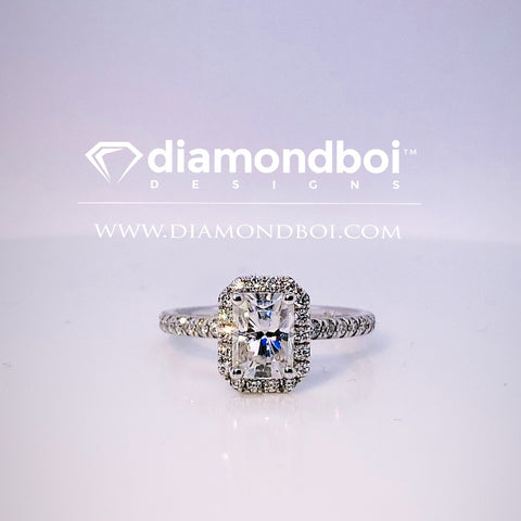 1.05ct/1.40ct/1.85ct TW Radiant Cut Ice Moissanite by diamondboi- Halo Design -TDSMoiss