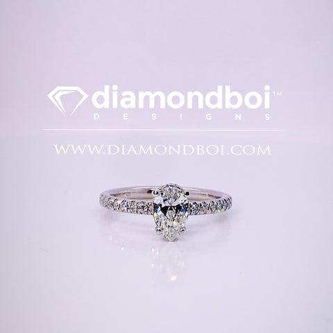 1.20ct/1.70ct TW Pear Shape Ice Moissanite by diamondboi- Classic Italian Pave-TDSMoiss