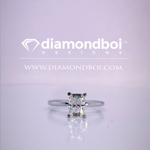1.00ct/1.50ct/2.00ct Radiant Cut Ice Mossanite by diamondboi, 4-Prong -1.75MM Tube Solitaire-TDSMoiss