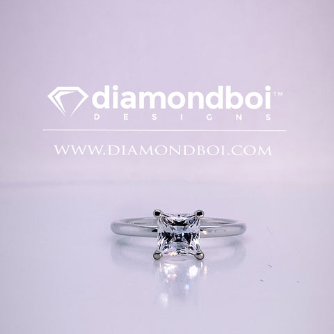 1.00ct/1.50ct/2.00ct Classic Solitaire, 1.75MM Tube-Princess Cut Ice Moissanite by diamondboi-TDSMoiss