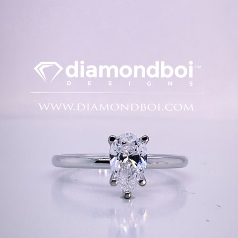 1.00ct/1.50ct/2.00ct, 1.75MM Tube Classic Solitaire Pear- Ice Moissanite by diamondboi-TDSMoiss