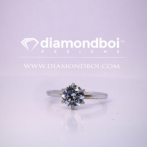 1.00ct/1.50ct/2.00ct Round Cut Ice Moissanite by diamondboi, 6-Prong -2.50MM Tube Solitaire-TDSMoiss