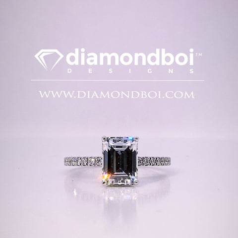 .80ct / 1.00ct / 1.30ct Total Weight Emerald Cut, Classic / Reverse Halo Engagement Ring -TDSReverse
