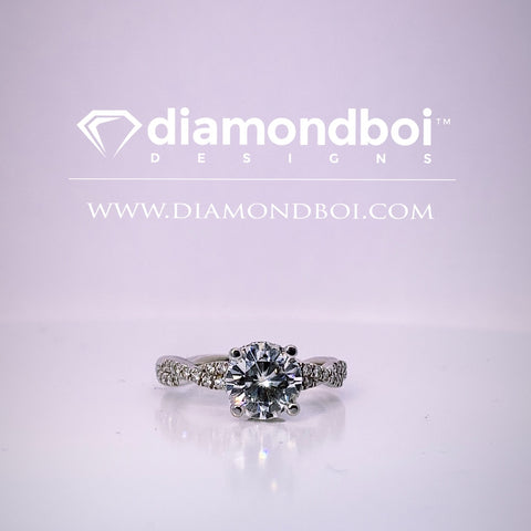 .86ct / 1.06ct / 1.36ct Total Weight Round Cut, Classic Braid / Reverse Halo Engagement Ring -TDSReverse