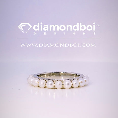 Sea-Salt Pearl Ladies Wedding Band