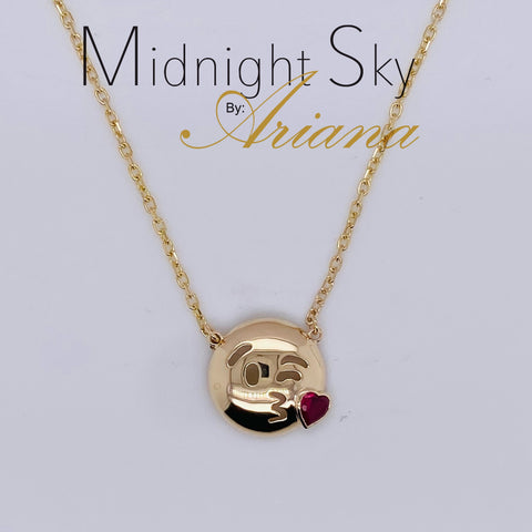 Midnight Sky by Ariana:  Kisses Emoji Necklace  -14KT