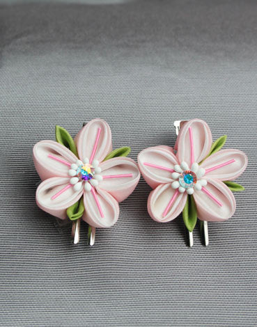 Pink Blossom Barrettes