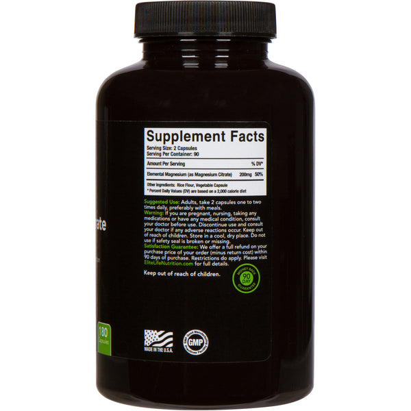 Pure Magnesium Citrate - 200mg per serving