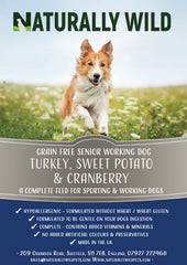 Senior -  Grain Free Turkey, Sweet Potato and Cranberry Working Dog Complete Food - 15kg