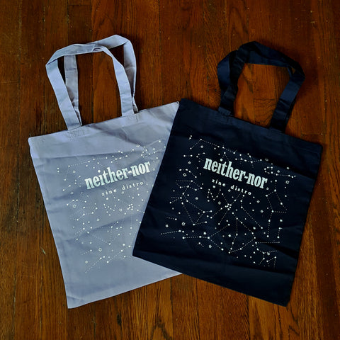 Neither/nor Tote Bag (glow in the dark ink!)