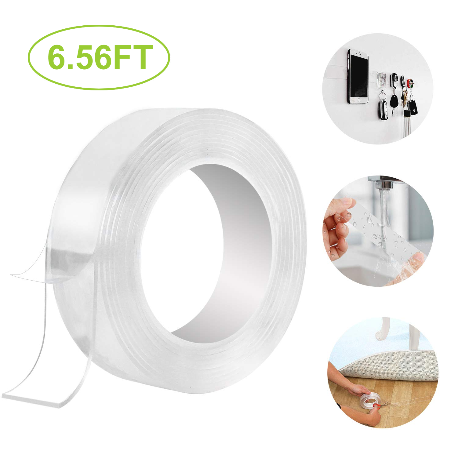 1 m// 3.28 Feet Per Roll 3 Rolls Nano Tape Set Adhesive Silicone Tape Washable Reusable Traceless Stick to Glass//Metal//Kitchen Cabinets//Tile Nano Tape