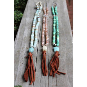 The Be Free Leather Tassel Necklace | Turquoise Blue Design Co.
