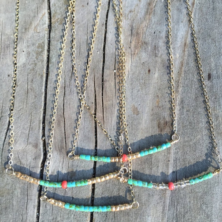 The Turquoise Beaded Bar Necklace | Turquoise Blue Design Co.