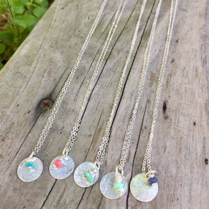 The Sterling Silver Circle & Gemstone Necklace | Turquoise Blue Design Co.