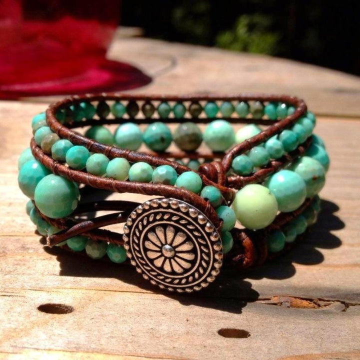 Chrysoprase Beaded Leather Cuff | Turquoise Blue Design Co.