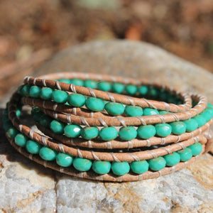 Turquoise Beaded Triple Wrap Leather Bracelet | Turquoise Blue Design Co.