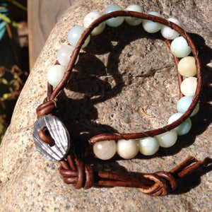 The Soothe Amazonite Leather Bracelet | Turquoise Blue Design Co.