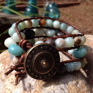 The Calm Amazonite Beaded Leather Cuff | Turquoise Blue Design Co.