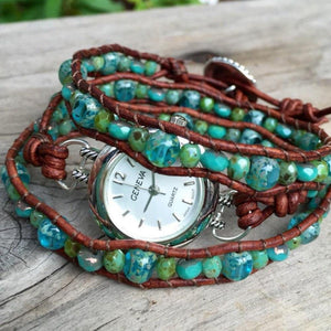 The Aqua Beaded Leather Wrap Watch | Turquoise Blue Design Co.