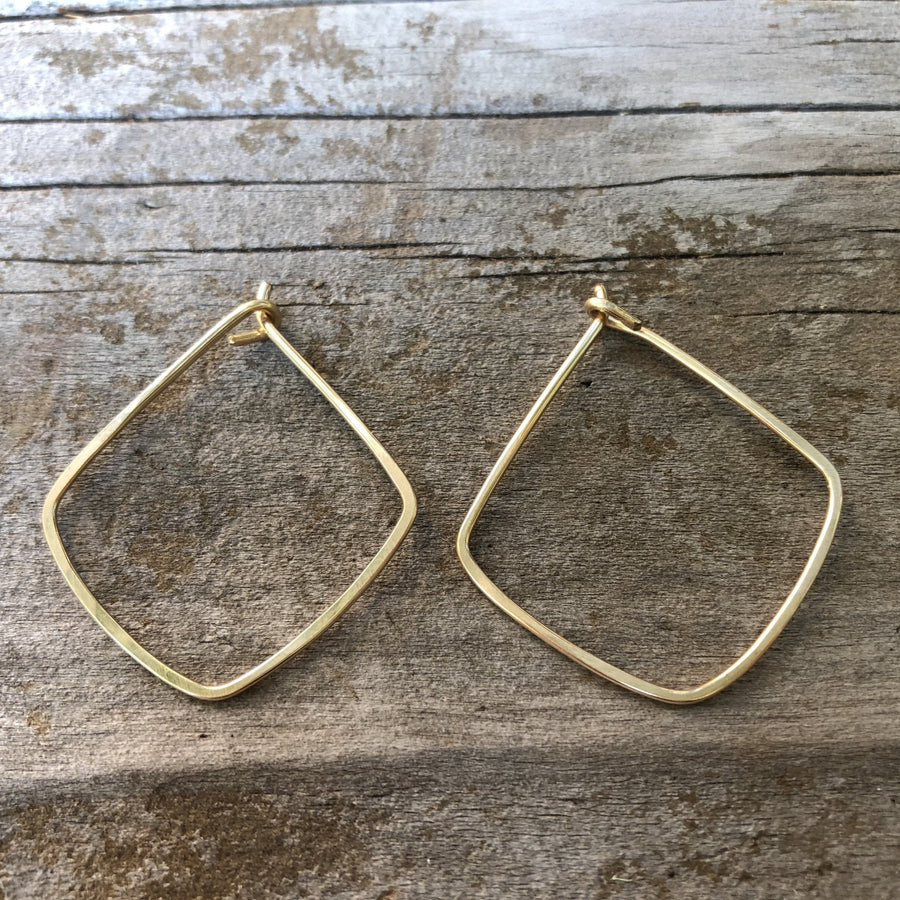 Geometric Diamond Shape Hoop Earrings