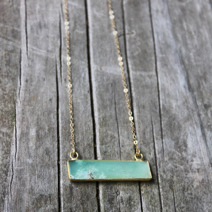 Chrysoprase Diamond/ Bar Pendant Necklace