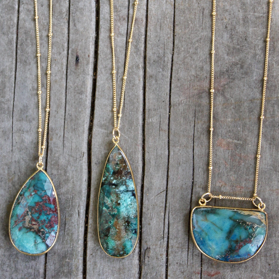 Chrysocolla Necklace- stone drop necklace