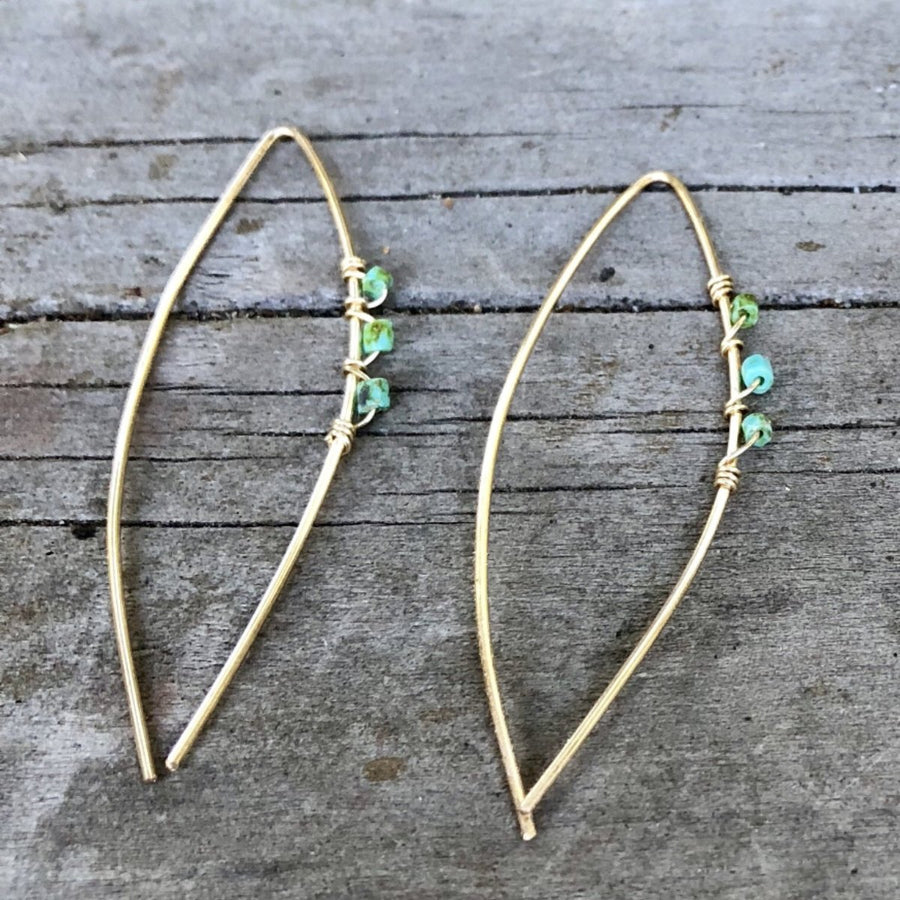 The Beaded Open Drop Hoop Earrings | Turquoise Blue Design Co.