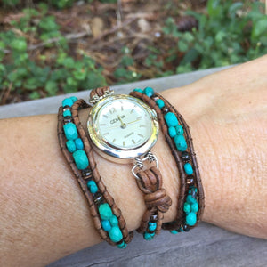 The Tough & Pretty Turquoise Leather Wrap Watch | Turquoise Blue Design Co.