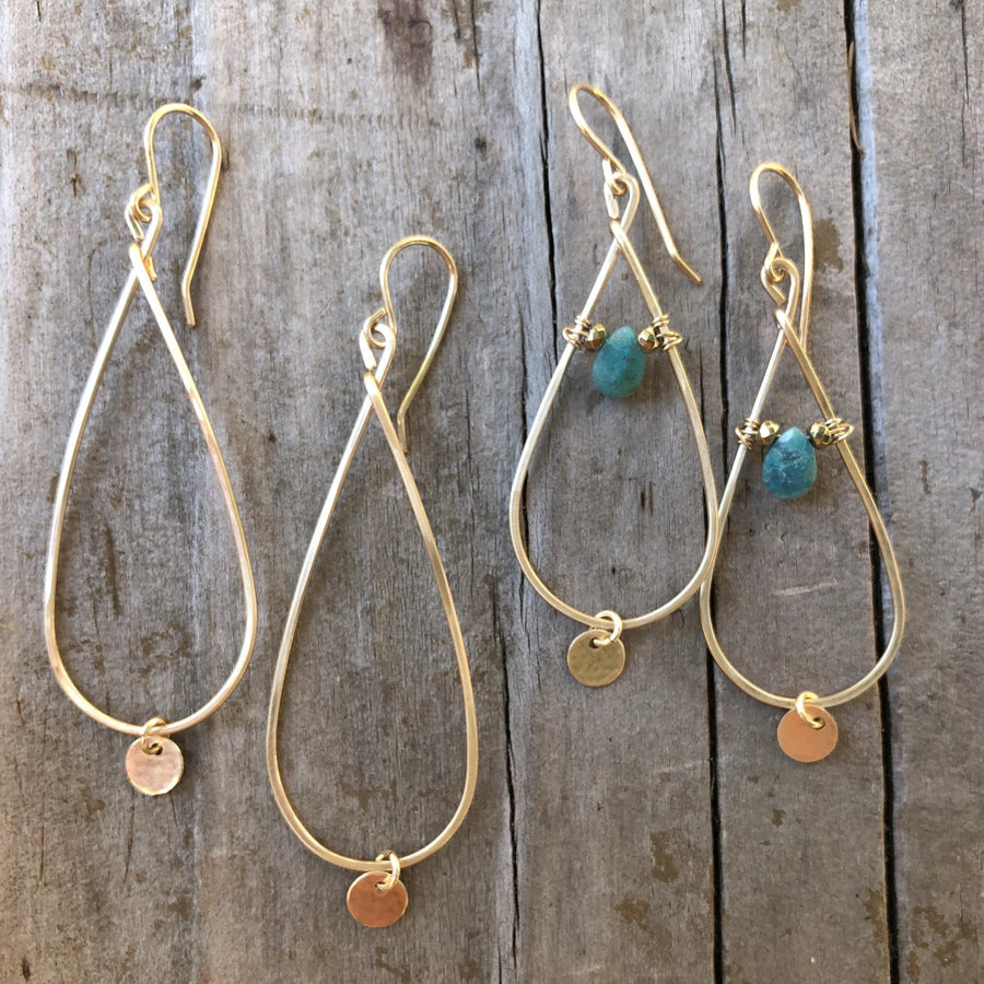 Star Hoop Earring with Chrysocolla and Gold Circle