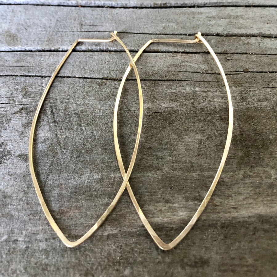 Pointed Oval Hoop Earrings | Turquoise Blue Design Co.