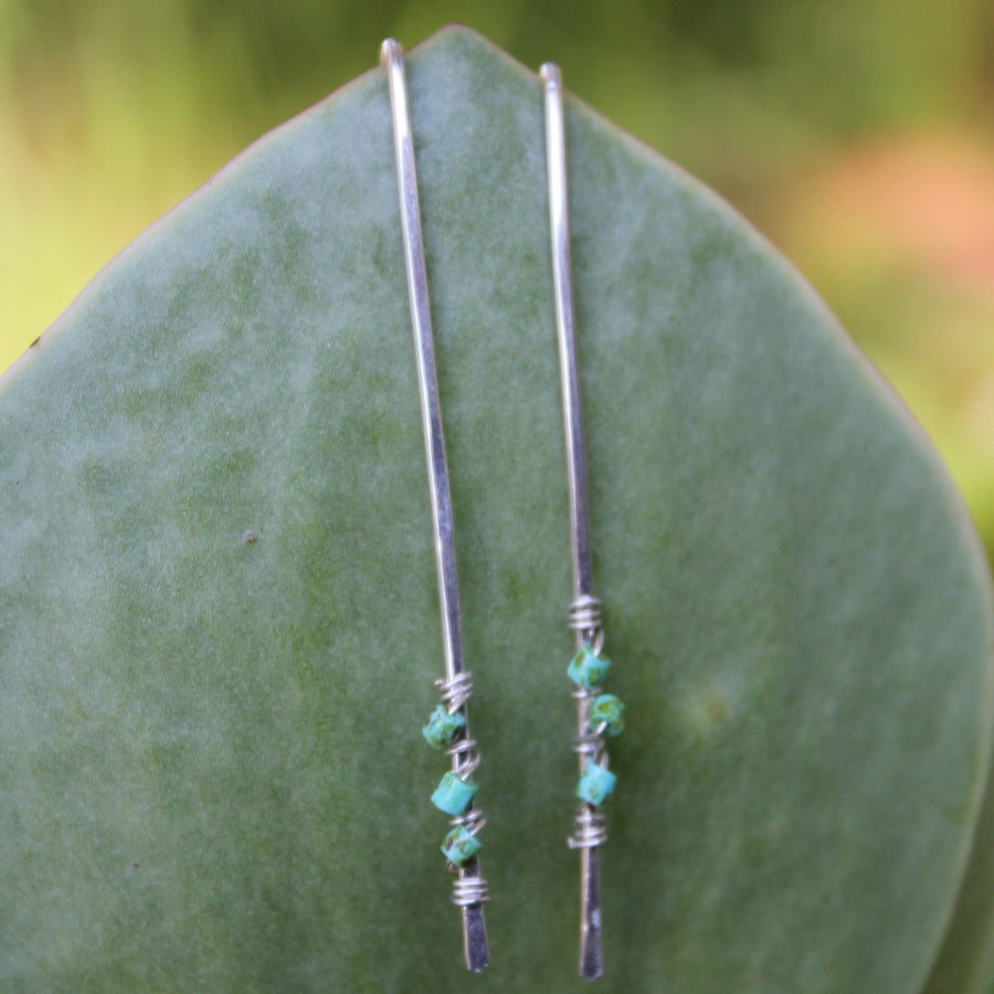Stick Earrings-  with Turquoise Bead wrap