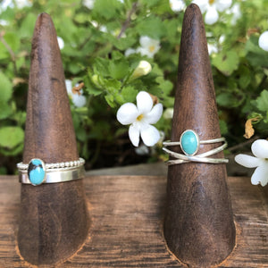 Oval Gemstone Stacking Rings-Opal or Turquoise