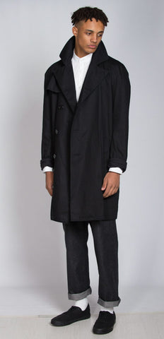 Black cotton twill Trench coat