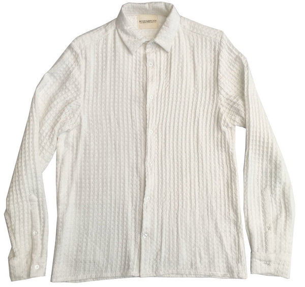 Textural white long sleeve shirt