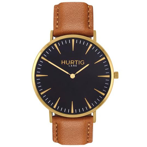 MYKONOS MEN'S WATCH,GOLD/BLACK/TAN
