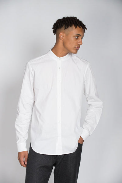 Mandarin collar, white long sleeve shirt