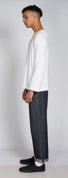 White organic bamboo long sleeve t-shirt