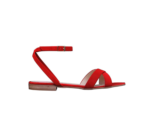 Clio Flat Sandal - Coral Red
