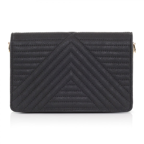Serin Black quilted across body bag