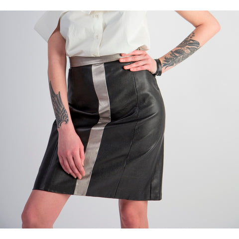Two-tone faux leather A-line mini skirt