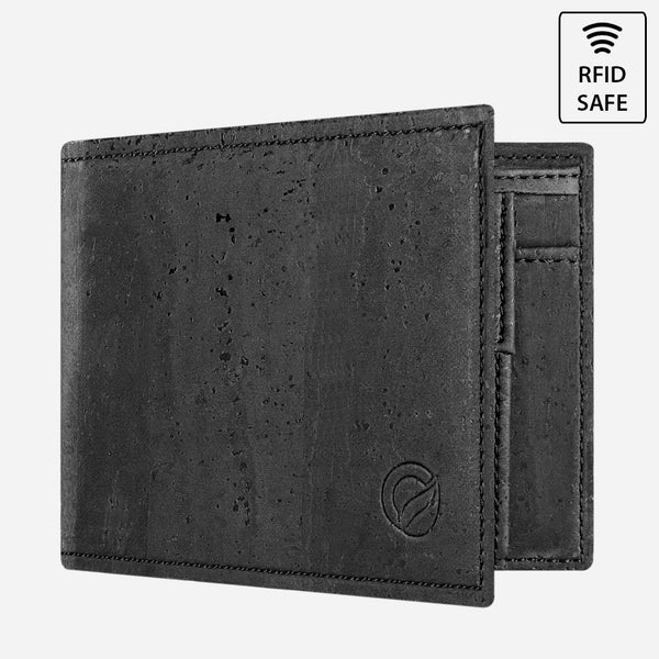 CORK WALLET WITH COIN POCKET-BLACK